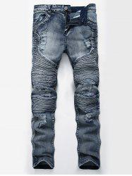 Straight Color Wash Ripped Moto Jeans - Bleu 40