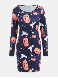 Halloween Pumpkin Ghost Print Long Sleeve Bodycon Dress - DEEP BLUE S