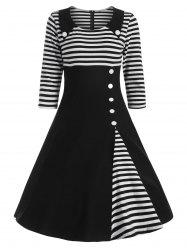 Button Embellished Striped A Line Vintage Dress - BLACK XL
