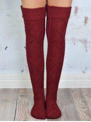 Cable Knit Overknee Stockings - WINE RED ONE SIZE