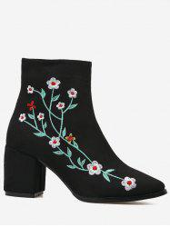Ankle Chunky Embroidery Floral Boots - BLACK 36