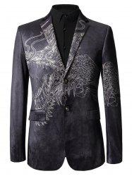 Two Button Totem Print Velvet Blazer -