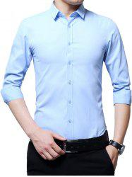 Long Sleeve Business Basic Shirt - AZURE 4XL