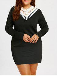 Lace Trim Plus Size Long Sleeve Mini Dress -