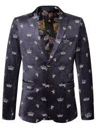 Allover Crown imprimé Velvet Blazer - Multicolore 58