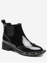 Ankle Rivet Wingtip Boots - BLACK 35