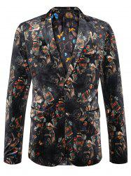 Lapel Allover Imprimé Casual Velvet Blazer - Multicolore 58