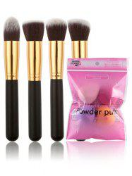 4 Pcs Makeup Brushes + Blender Sponges -