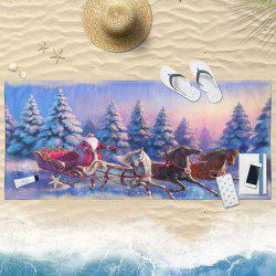 Santa Claus Snow Scenery Christmas Bath Towel -