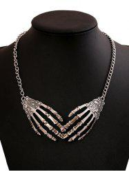 Punk Halloween Metal Skeleton Hand Necklace - Silver