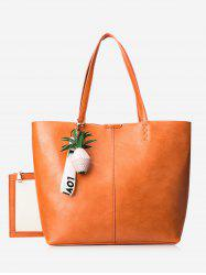Faux Leather Pineapple Pendant Tote Bag Set -