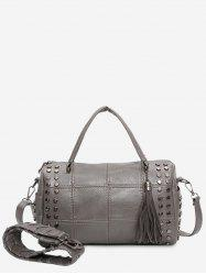 Quilted Tassel Stud Tote Bag - GRAY