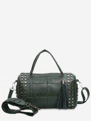 Quilted Tassel Stud Tote Bag - GREEN