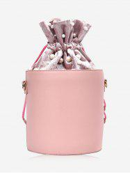 PU Leather Drawstring Faux Pearl Bucket Bag -