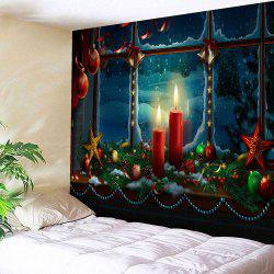 Waterproof Romantic Christmas Candles Pattern Wall Art Tapestry - COLORFUL W59 INCH * L51 INCH