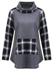 Plus Size Turtleneck Plaid Panel Tee - GRAY XL