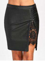 Lace Insert Faux Leather Bodycon Skirt - Black - M