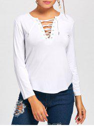 Long Sleeve Lace Up Tee - WHITE XL