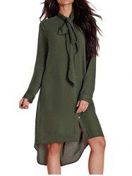 Bow Tie Neck High Low Dress - ARMY GREEN M
