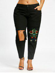 Flower Embroidery Plus Size Ninth Destroyed Jeans - BLACK 3XL