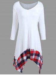 Plus Size Handkerchief Plaid Panel T-shirt - WHITE XL