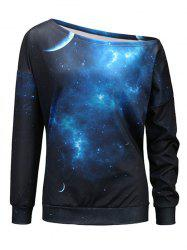 Universe Starry Sky Print One Shoulder Sweatshirt - BLACK AND BLUE XL