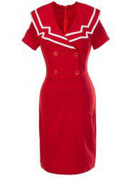 Retro Double Breasted Bodycon Dress - RED XL