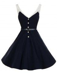 Vintage V Neck Buttoned Backless Skater Pin Up Dress - PURPLISH BLUE S
