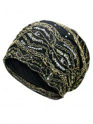 Vintage Striped Sequin Beanie Hat - GOLDEN