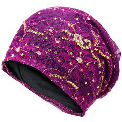 Vintage Floral Embroidered Rhinestone Decorated Beanie Hat -