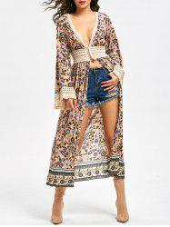 Floral Lace Panel Long Sleeve Longline Top -
