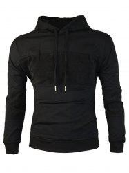 Chest Embroidery Corduroy Panel Pullover Hoodie - BLACK M