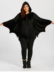 Bat Wings Plus Size Zip Up Hoodie - Black - 5xl
