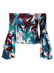 Shirred Off The Shoulder Flare Sleeve Blouse - Multicolore L