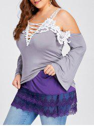 Plus Size Layered Sheer Lace Extender Skirt - PURPLE 5XL