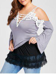 Plus Size Layered Sheer Lace Extender Skirt - Black - 2xl