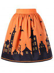 Halloween Bat Print A-line Skirt - ORANGE M