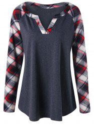 Plus Size Raglan Sleeve Plaid T-shirt - Black Grey - 2xl