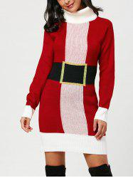 Christmas Turtleneck Mini Tight Sweater Dress -
