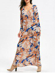 Plant Print Long Flared Sleeve Maxi Dress - FLORAL XL