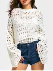 Drop Shoulder Flare Sleeve Crochet Crop Sweater -