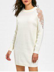 Lace Panel Long Sleeve Short Sweater Dress - WHITE 2XL