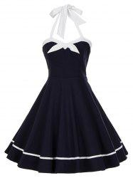 Vintage Backless Bowknot Halter Swing Dress -