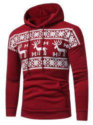 Snow and Reindeer Print Fleece Pullover Hoodie -