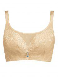 Plus Size Unlined Wirefree Floral Lace Bra -