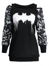Halloween Plus Size Bat Print Sweatshirt -