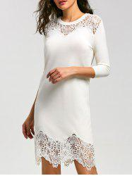 Lace Insert Knit Bodycon Mini Dress -