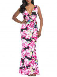 Floral Print Belted Surplice Maxi Dress -
