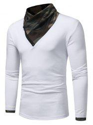 Camouflage Panel Cowl Neck Zipper T-shirt -
