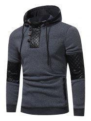 PU Leather Panel Fleece Pullover Hoodie -